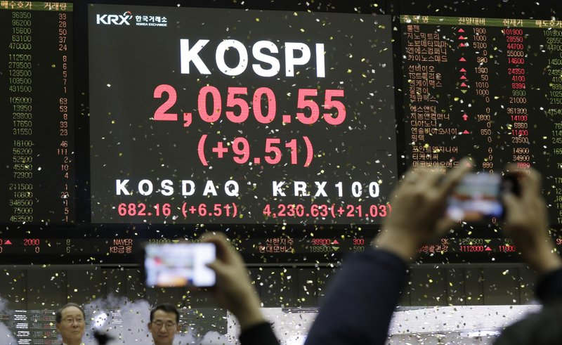 A huge screen shows the Korea Composite Stock Price Index (KOSPI) during the opening of the 2019 trading year at the Korea Exchange in Seoul, South Korea, Wednesday, Jan. (AP Photo/Lee Jin-man)