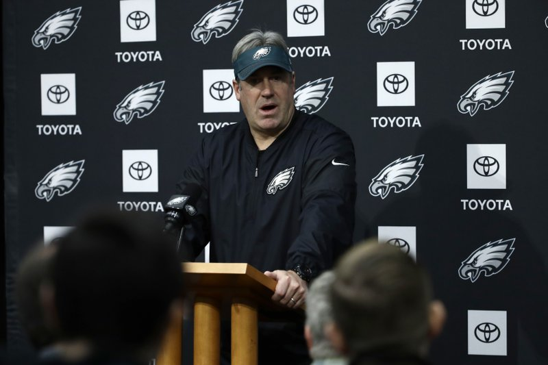 Philadelphia Eagles head coach Doug Pederson speaks with members of the media during a news conference at the team's NFL football training facility in Philadelphia, Wednesday, Jan. (AP Photo/Matt Rourke)