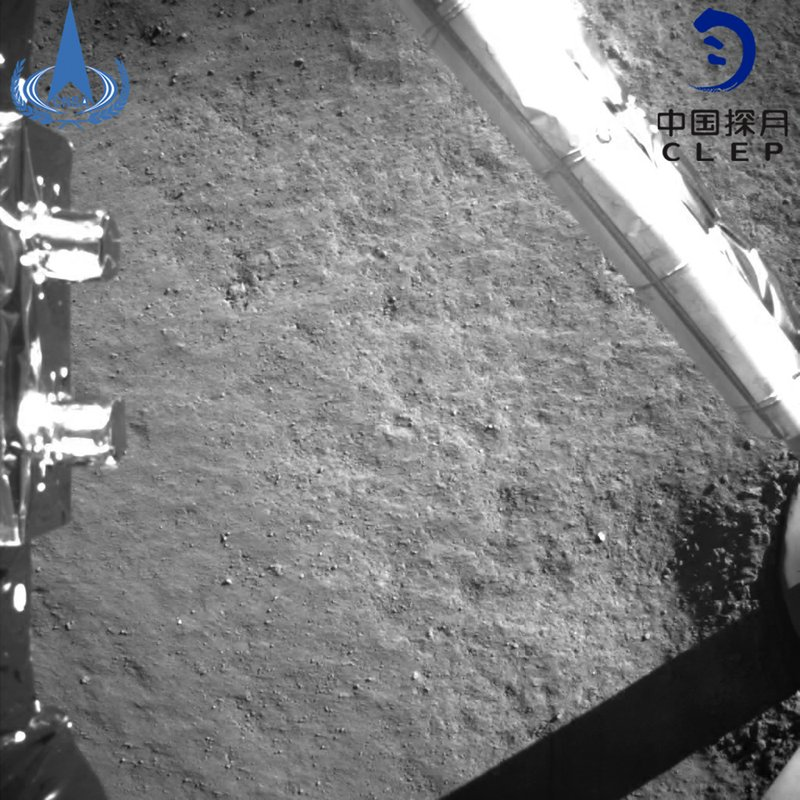 In this photo provided on Jan. 3, 2019, by the China National Space Administration via Xinhua News Agency, an image taken by China's Chang'e-4 probe after its landing. (China National Space Administration/Xinhua News Agency via AP)