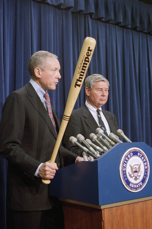 FILE - In this Feb. 14, 1995, file photo, Senate Judiciary Committee Chairman Sen. Orrin Hatch, R-Utah, holds a Ted Williams model