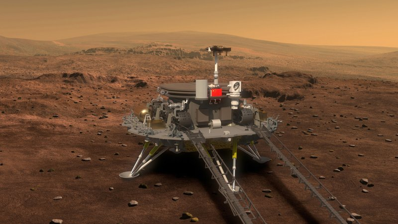 FILE- This artist's rendering provided to China's Xinhua News Agency on Aug. 23, 2016, by the lunar probe and space project center of Chinese State Administration of Science, Technology and Industry for National Defense, shows a concept design for the Chinese Mars 2020 rover and lander. (Chinese State Administration of Science, Technology, and Industry for National Defense via Xinhua via AP, File)