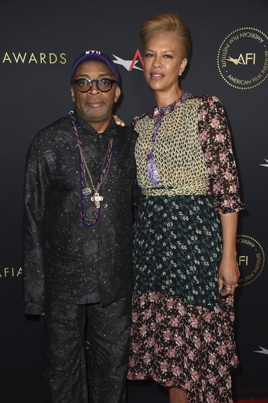 Tonya Lewis Lee, right, and Spike Lee arrive at the 2019 AFI Awards at The Four Seasons on Friday, Jan. (Photo by Jordan Strauss/Invision/AP)