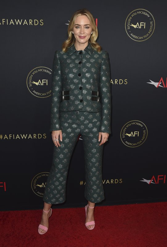 Emily Blunt arrives at the 2019 AFI Awards at The Four Seasons on Friday, Jan. 4, 2019, in Los Angeles. (Photo by Jordan Strauss/Invision/AP)