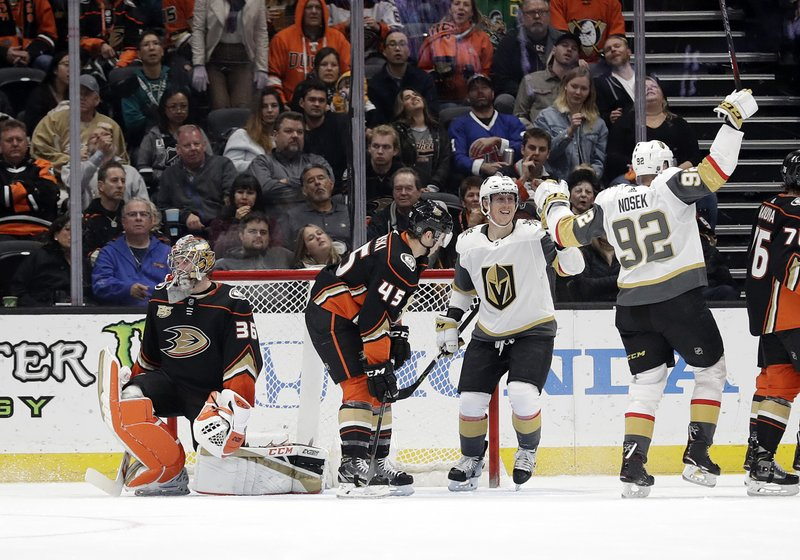 Vegas Golden Knights' Tomas Nosek (92) celebrates after scoring against the Anaheim Ducks during the second period of an NHL hockey game Friday, Jan. (AP Photo/Marcio Jose Sanchez)