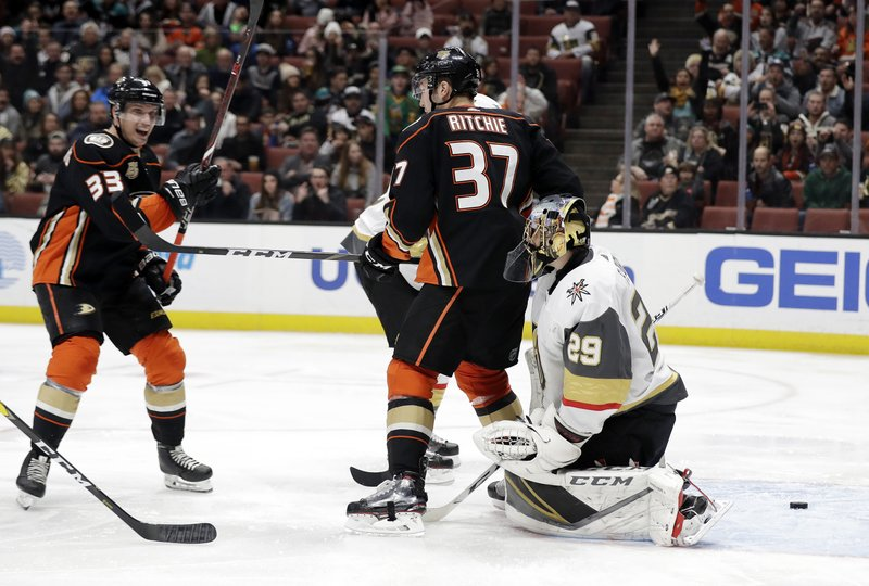 Vegas Golden Knights goaltender Marc-Andre Fleury, right, gives up a goal on a shot from Anaheim Ducks' Daniel Sprong, not seen, during the second period of an NHL hockey game Friday, Jan. (AP Photo/Marcio Jose Sanchez)