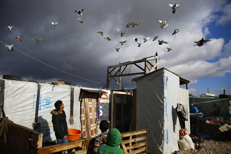 A boy watches his pigeons fly at an informal refugee camp in Zahle city in the eastern Bekaa valley, Lebanon, Monday, Dec. (32 degrees Fahrenheit) Monday early morning. (AP Photo/Hassan Ammar)