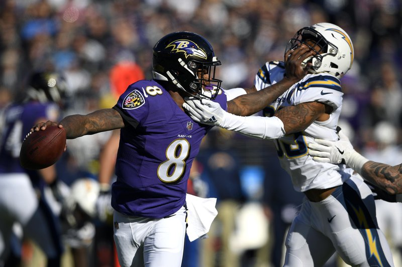 Baltimore Ravens quarterback Lamar Jackson (8) tries to break free from Los Angeles Chargers free safety Derwin James in the first half of an NFL wild card playoff football game, Sunday, Jan. (AP Photo/Nick Wass)