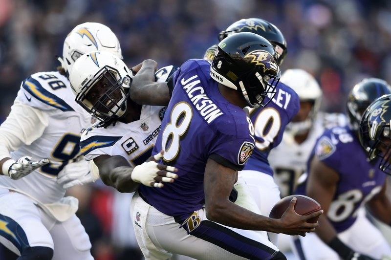 Baltimore Ravens quarterback Lamar Jackson (8) is sacked by Los Angeles Chargers defensive end Melvin Ingram in the second half of an NFL wild card playoff football game, Sunday, Jan. (AP Photo/Gail Burton)