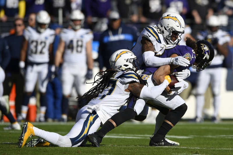 Los Angeles Chargers strong safety Jahleel Addae, left, and free safety Derwin James tackle Baltimore Ravens wide receiver Willie Snead in the first half of an NFL wild card playoff football game, Sunday, Jan. (AP Photo/Nick Wass)