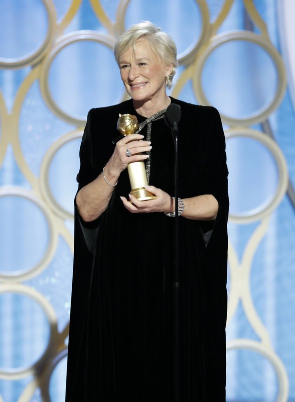 This image released by NBC shows Glenn Close accepting the award for best actress in a drama film for her role in