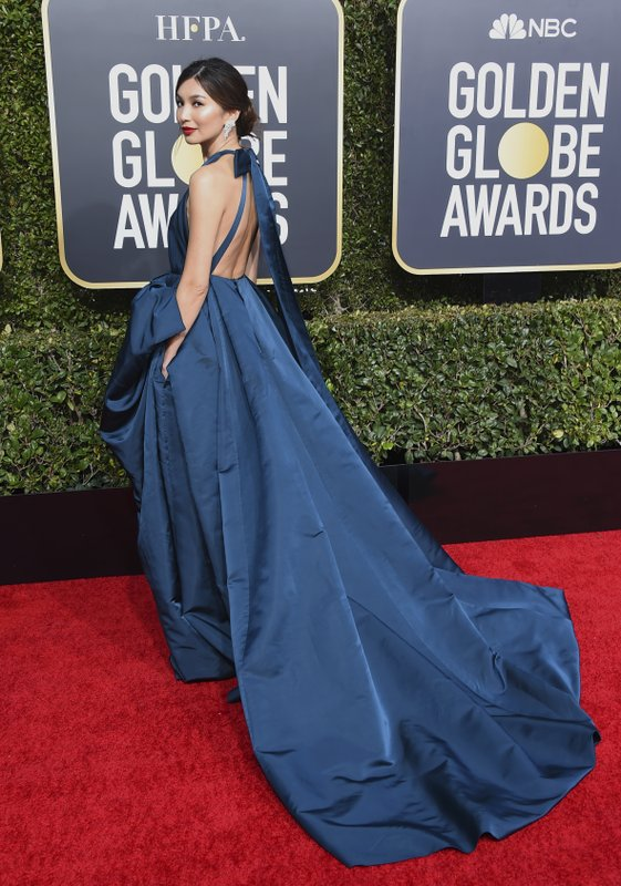 Gemma Chan arrives at the 76th annual Golden Globe Awards at the Beverly Hilton Hotel on Sunday, Jan. (Photo by Jordan Strauss/Invision/AP)