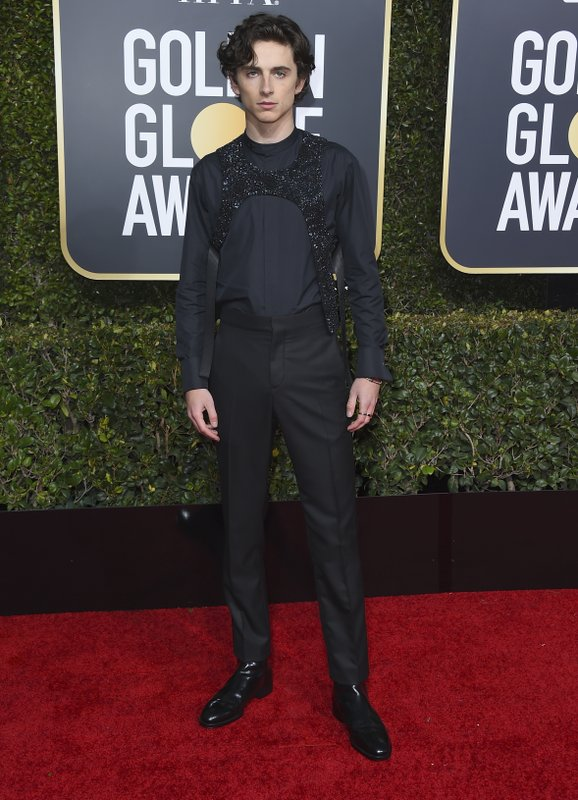 Timothee Chalamet arrives at the 76th annual Golden Globe Awards at the Beverly Hilton Hotel on Sunday, Jan. (Photo by Jordan Strauss/Invision/AP)