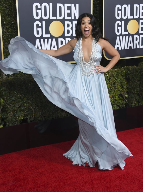 Gina Rodriguez arrives at the 76th annual Golden Globe Awards at the Beverly Hilton Hotel on Sunday, Jan. (Photo by Jordan Strauss/Invision/AP)