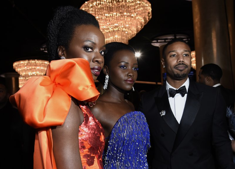 Danai Gurira, from left, Lupita Nyong'o and Michael B. Jordan attend the 76th annual Golden Globe Awards at the Beverly Hilton Hotel on Sunday, Jan. (Photo by Chris Pizzello/Invision/AP)