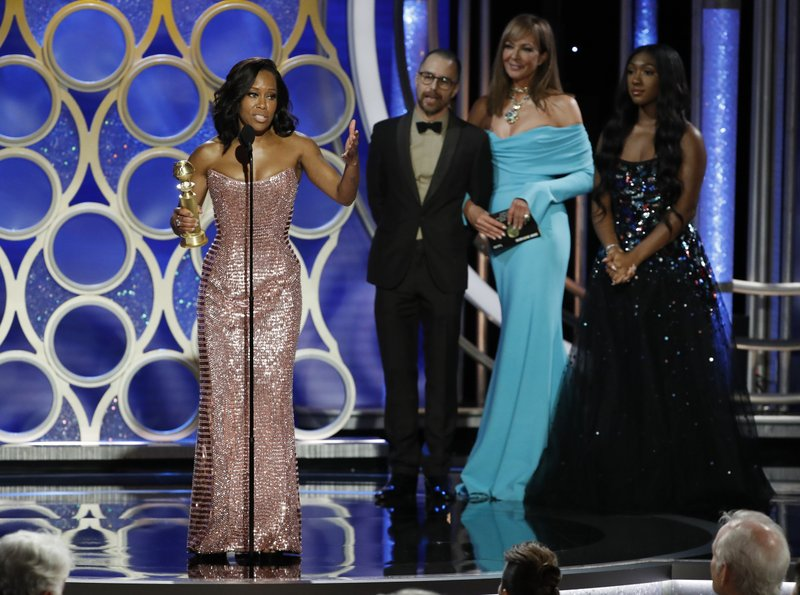 This image released by NBC shows Regina King accepting the award for best supporting actress in a motion picture for her role in