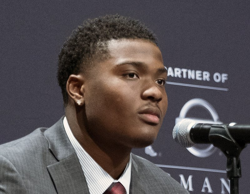 FILE - In this Dec. 8, 2018, file photo, Heisman Trophy finalist Dwayne Haskins, from Ohio State looks on during a press conference in New York. (AP Photo/Craig Ruttle, File)