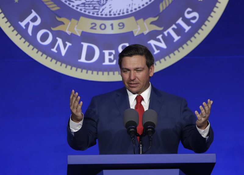 Governor-elect Ron DeSantis speaks during a luncheon, Monday, Jan. 7, 2019, in Tallahassee, Fla. DeSantis will be sworn in as governor Tuesday. (AP Photo/Lynne Sladky)