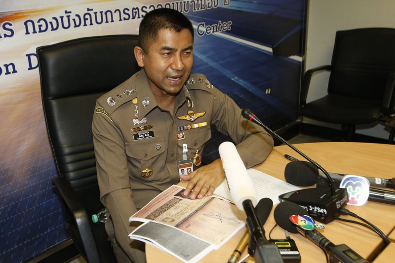 Chief of Immigration Police Maj. Gen. Surachate Hakparn talks to media about the status Rahaf Mohammed Alqunun during a press conference at the Suvarnabhumi Airport in Bangkok Monday, Jan. (AP Photo/Sakchai Lalit)