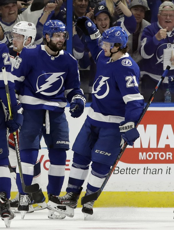 Tampa Bay Lightning center Brayden Point (21) celebrates his goal against the Columbus Blue Jackets with right wing Nikita Kucherov (86) during the first period of an NHL hockey game Tuesday, Jan. (AP Photo/Chris O'Meara)