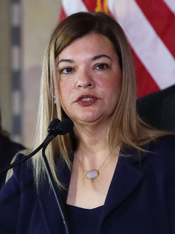 Barbara Lagoa, Governor Ron DeSantis' pick for the Florida Supreme Court, speaks after being introduced, Wednesday, Jan. (AP Photo/Wilfredo Lee)
