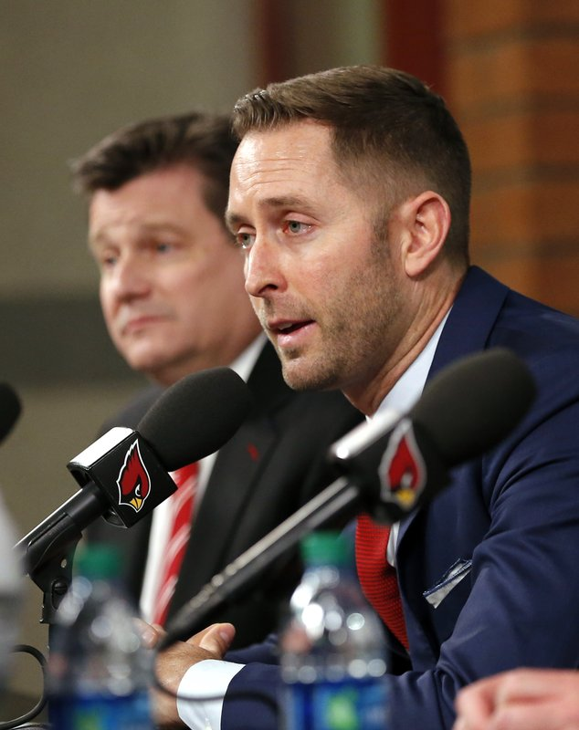 The Arizona Cardinals new head coach Kliff Kingsbury addresses the media, Wednesday, Jan. 9, 2019, in Tempe, Ariz. (AP Photo/Rick Scuteri)
