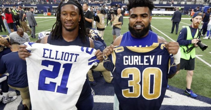 b7031bcb8 FILE - In this Oct. 1, 2017, file photo, Los Angeles Rams' Todd Gurley,  left, and Dallas Cowboys' Ezekiel Elliott, right, swap jerseys after an NFL  football ...