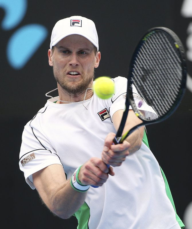 Andreas Seppi of Italy hits a backhand to Stefanos Tsitsipas of Greece during their men's singles match at the Sydney International tennis tournament in Sydney, Thursday, Jan. (AP Photo/Rick Rycroft)