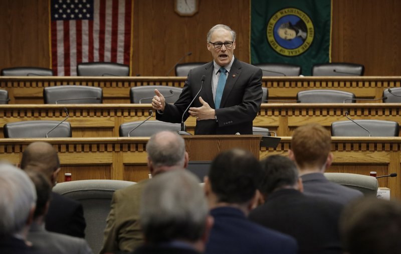 Washington Gov. Jay Inslee speaks during the Associated Press Legislative Preview, Thursday, Jan. 10, 2019, at the Capitol in Olympia, Wash. (AP Photo/Ted S. Warren)