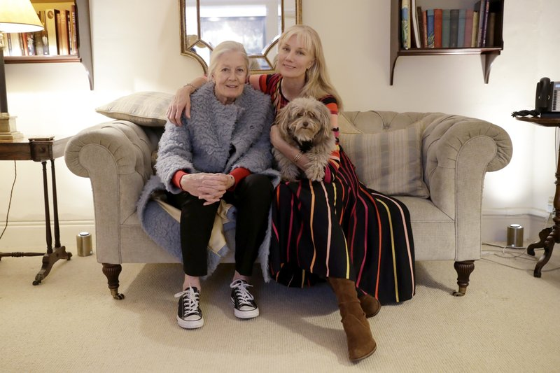 British actresses Vanessa Redgrave, her dog Zep, and her daughter Joely Richardson pose for portrait photographs before an interview with The Associated Press in London, Tuesday, Jan. (AP Photo/Matt Dunham)