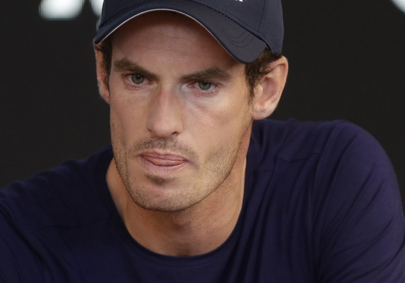 Britain's Andy Murray reacts during a press conference at the Australian Open tennis championships in Melbourne, Australia, Friday, Jan. (AP Photo/Mark Baker)