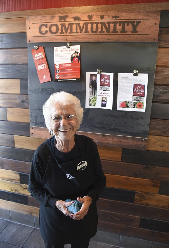 After 25 years at Arby's, 94-year-old Dorothy Bale has no plans to retire from the job she started when she was 69. (Francisco Kjolseth/The Salt Lake Tribune via AP)