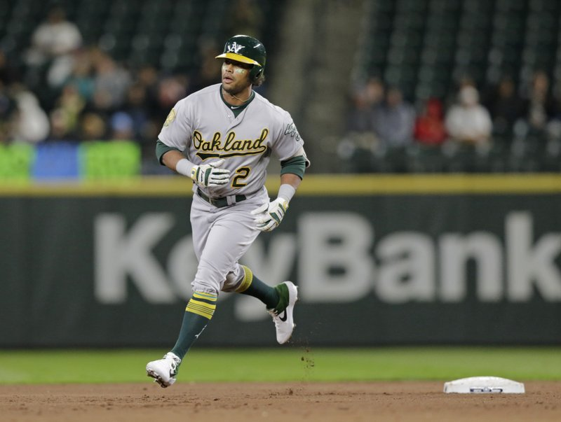 FILE - In this Sept. 24, 2018, file photo Oakland Athletics' Khris Davis rounds the bases after hitting a home run against the Seattle Mariners during a baseball game, in Seattle. (AP Photo/John Froschauer,File)