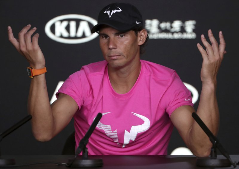 Spain's Rafael Nadal gestures during a press conference ahead of the Australian Open tennis championships in Melbourne, Australia, Saturday, Jan. (AP Photo/Mark Schiefelbein)