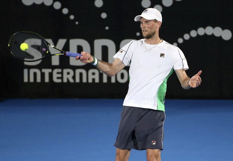 Andreas Seppi of Italy plays a shot to Alex de Minaur of Australia during the men's final match at the Sydney International tennis tournament in Sydney, Australia, Saturday, Jan. (AP Photo/David Moir)