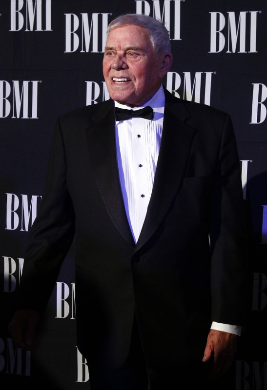 FILE - In this Oct. 30, 2012 file photo, Tom T. Hall arrives at the 60th Annual BMI Country Awards in Nashville, Tenn. (Photo by Wade Payne/Invision/AP, File)