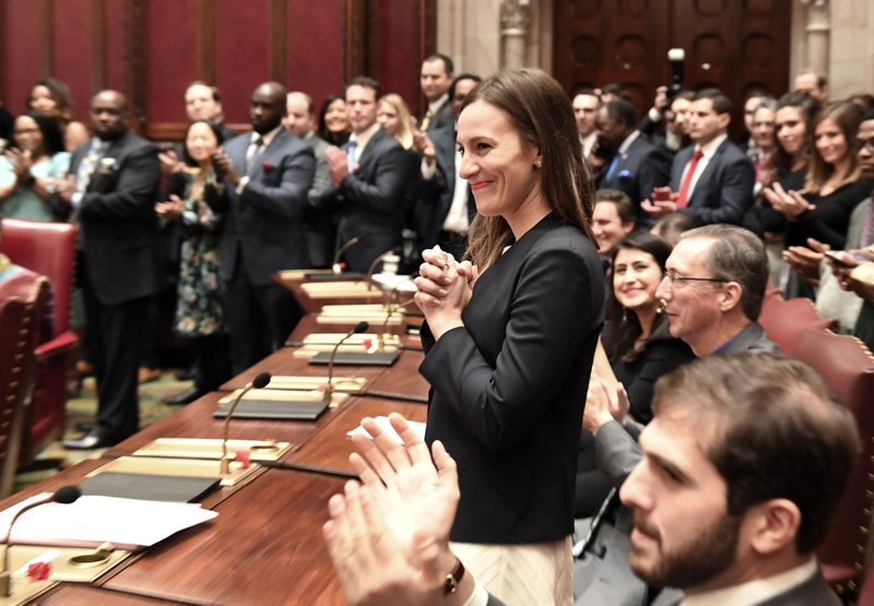 FILE - In this Jan. 9, 2019 file photo, freshman Sen. Alessandra Biaggi, D-Bronx, is introduced during opening day of the legislative session in Albany, N. (AP Photo/Hans Pennink, File)