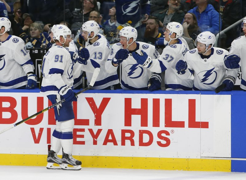 Tampa Bay Lightning forward Steven Stamkos (91) is congratulated for his goal during the third period of an NHL hockey game against the Buffalo Sabres, Saturday, Jan. (AP Photo/Jeffrey T. Barnes)