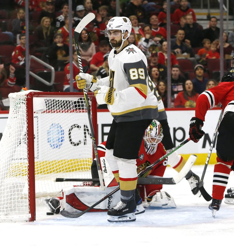 Vegas Golden Knights right wing Alex Tuch (89) reacts after his goal against the Chicago Blackhawks during the second period of an NHL hockey game Saturday, Jan. (AP Photo Nuccio DiNuzzo)