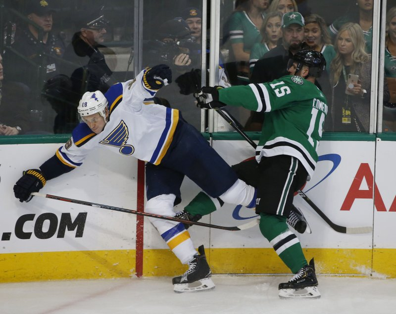 St. Louis Blues defenseman Jay Bouwmeester (19) gets hit by Dallas Stars left wing Blake Comeau (15) along the boards during the third period of an NHL hockey game in Dallas, Saturday, Jan. (AP Photo/Michael Ainsworth)