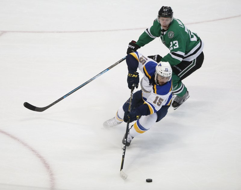 St. Louis Blues center Robby Fabbri (15) keeps the puck from Dallas Stars defenseman Esa Lindell (23) during the second period of an NHL hockey game in Dallas, Saturday, Jan. (AP Photo/Michael Ainsworth)