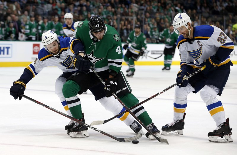 St. Louis Blues defenseman Joel Edmundson (6) and defenseman Alex Pietrangelo (27) try to get the puck from Dallas Stars right wing Valeri Nichushkin (43) during the first period of an NHL hockey game in Dallas, Saturday, Jan. (AP Photo/Michael Ainsworth)