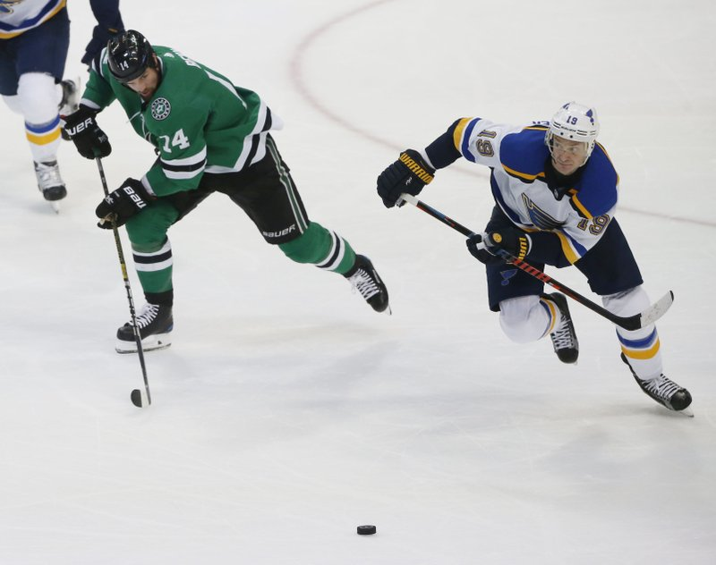 Dallas Stars left wing Jamie Benn (14) and St. Louis Blues defenseman Jay Bouwmeester (19) chase after a puck during the second period of an NHL hockey game in Dallas, Saturday, Jan. (AP Photo/Michael Ainsworth)