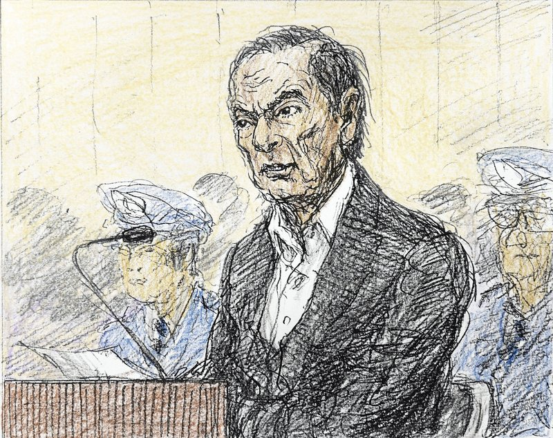 FILE - This  Jan. 8, 2019, file courtroom sketch, depicts former Nissan chairman Carlos Ghosn in a courtroom at the Tokyo District Court in Tokyo. (Nobutoshi Katsuyama/Kyodo News via AP, File)