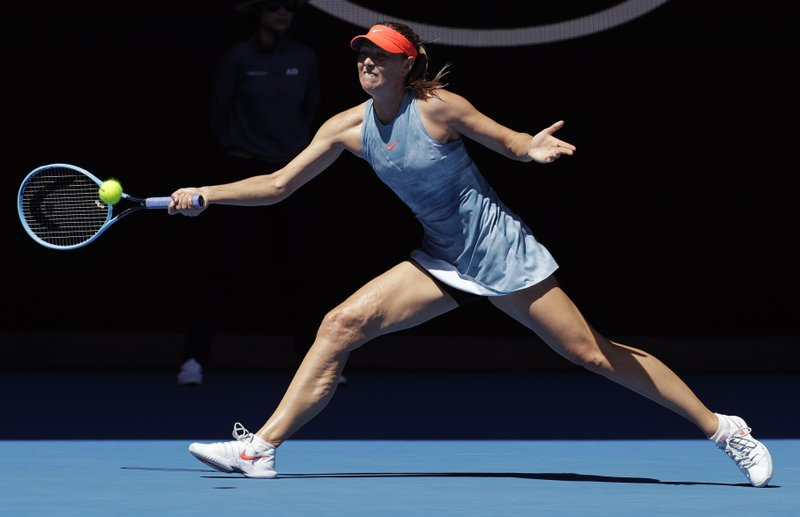Russia's Maria Sharapova makes a forehand return to Britain's Harriet Dart during their first round match at the Australian Open tennis championships in Melbourne, Australia, Monday, Jan. (AP Photo/Aaron Favila)