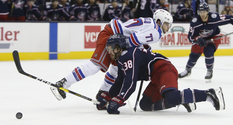 New York Rangers' Tony DeAngelo, top, collides with Columbus Blue Jackets' Boone Jenner during the second period of an NHL hockey game Sunday, Jan. (AP Photo/Jay LaPrete)