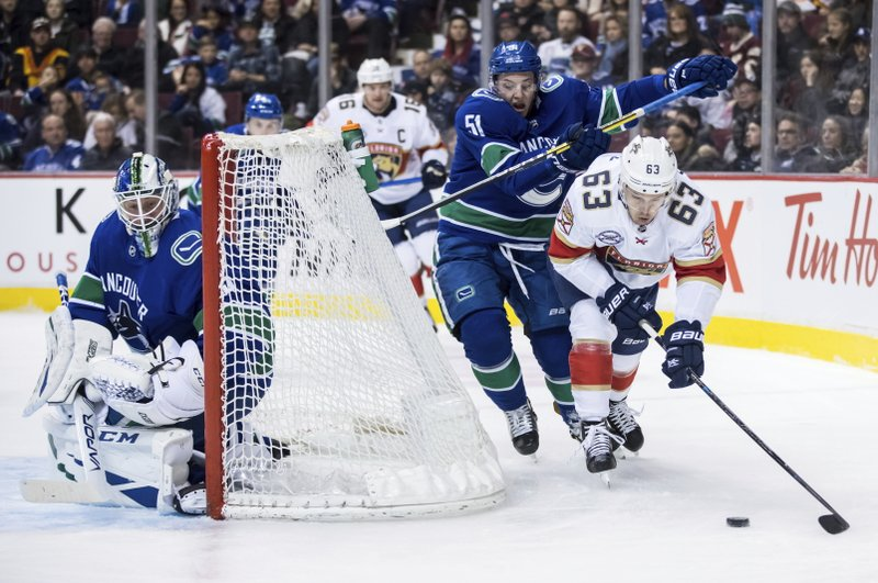 Florida Panthers' Evgenii Dadonov (63), of Russia, is checked by Vancouver Canucks' Troy Stecher (51) behind goalie Jacob Markstrom, of Sweden, during the first period of an NHL hockey game in Vancouver, British Columbia, Sunday, Jan. (Darryl Dyck/The Canadian Press via AP)