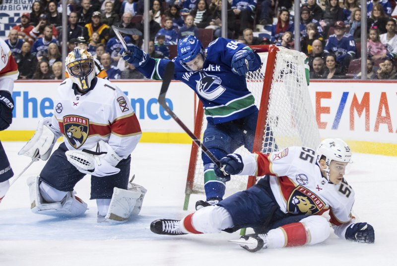 Vancouver Canucks' Tyler Motte (64) crashes into the net behind Florida Panthers goalie Roberto Luongo (1) after having the puck taken away by Bogdan Kiselevich (55), of Russia, during the second period of an NHL hockey game in Vancouver, British Columbia, Sunday, Jan. (Darryl Dyck/The Canadian Press via AP)