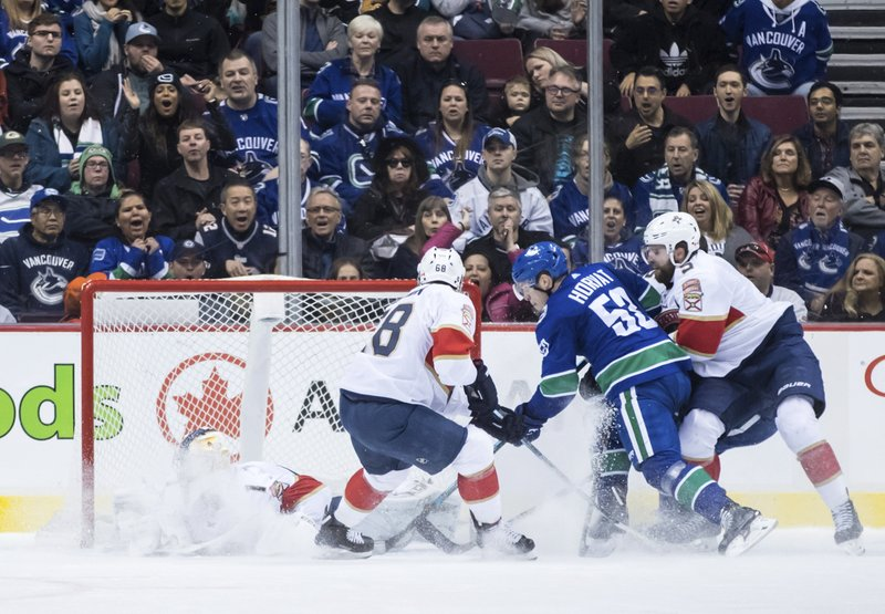 Florida Panthers goalie Roberto Luongo, left, is showered with snow as he stops Vancouver Canucks' Bo Horvat (53) while Panthers' Mike Hoffman (68) and Aaron Ekblad (5) defend during the first period of an NHL hockey game in Vancouver, British Columbia, Sunday, Jan. (Darryl Dyck/The Canadian Press via AP)