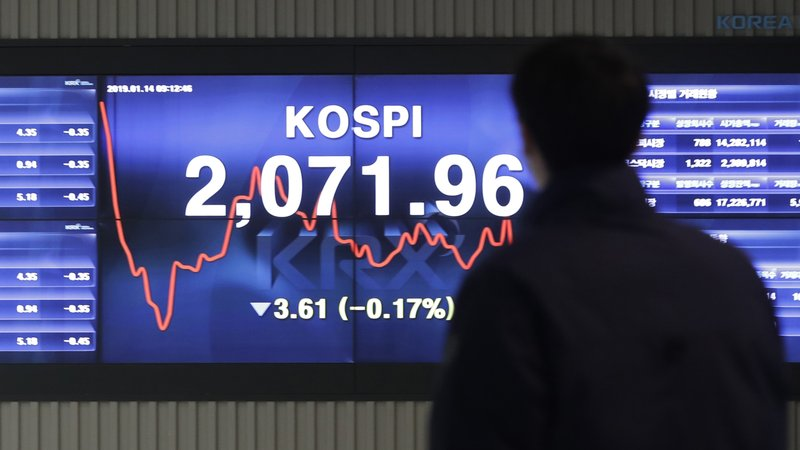 A man walks by the screen showing the Korea Composite Stock Price Index (KOSPI) at the Korea Exchange in Seoul, South Korea, Monday, Jan. (AP Photo/Lee Jin-man)