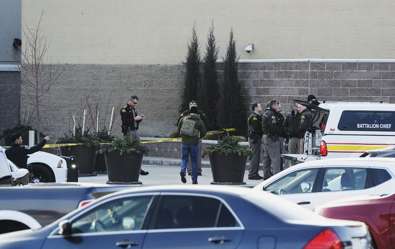 Emergency responders set up a command area outside Dillard's at Fashion Place mall after reports of a shooting in Murray, Utah, Sunday, Jan. (Francisco Kjolseth/The Salt Lake Tribune via AP)